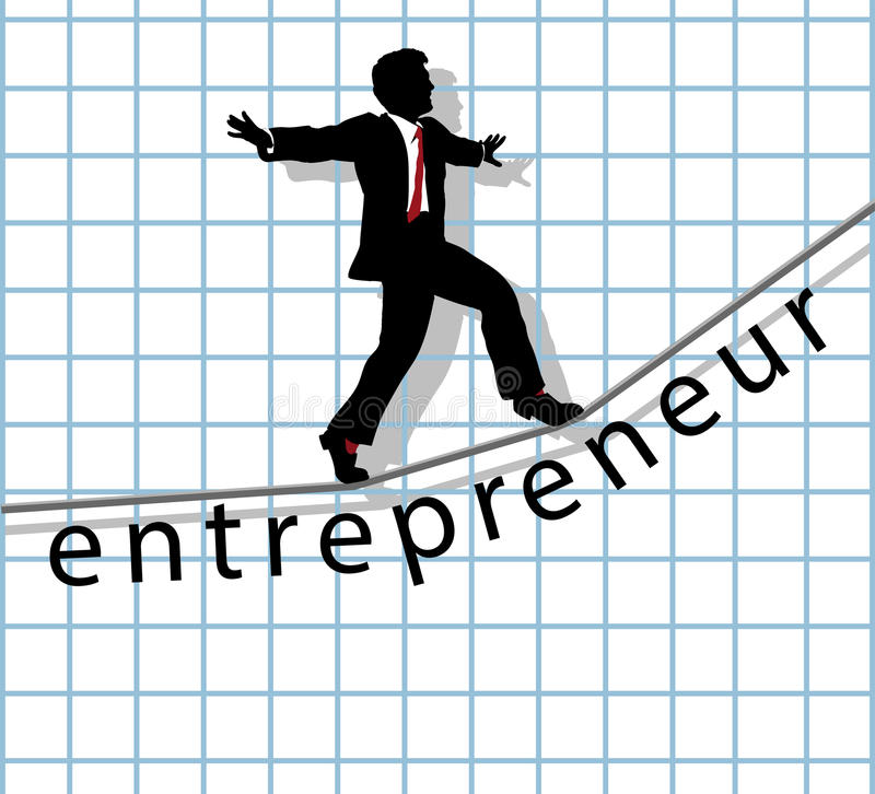 Free Entrepreneur On Tightrope Start Up Success Royalty Free Stock Photography - 31809197