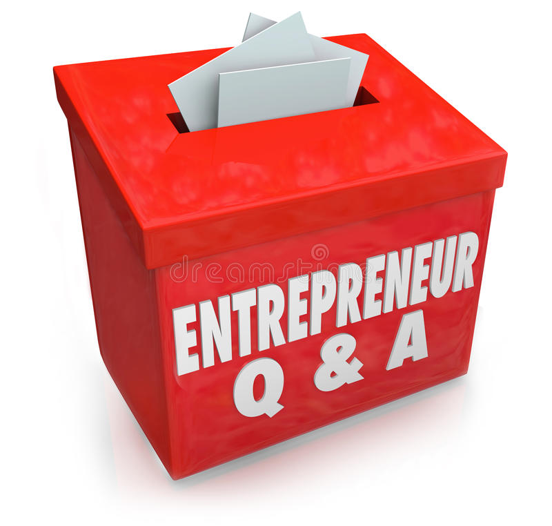 Entrepreneur Questions Answers Box Information. Entrepreneur Q & A words on a box collecting your questions on how to run a business and be self employed vector illustration