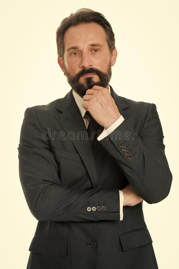 Entrepreneur r?fl?chi barbu d'homme d'affaires Concept r?fl?chi d'homme d'affaires Le visage r?fl?chi d'homme d'affaires prennent photo libre de droits