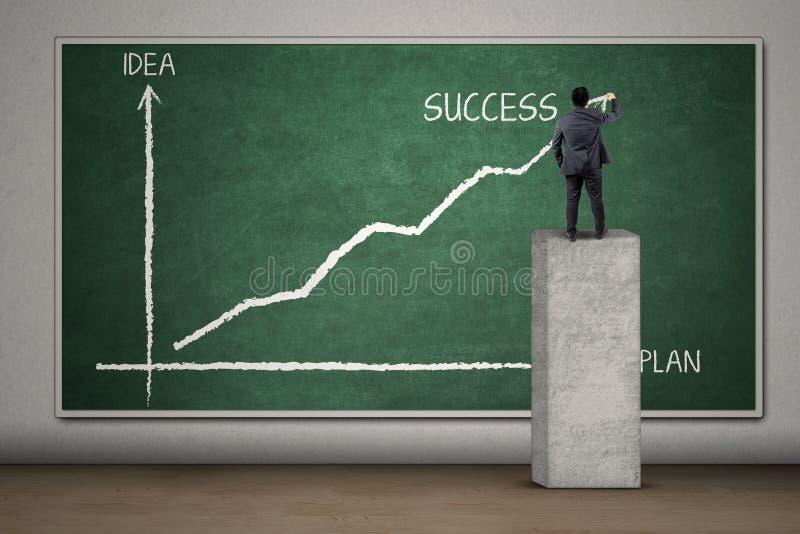 Entrepreneur statistiques de dessin d'un plan illustration stock