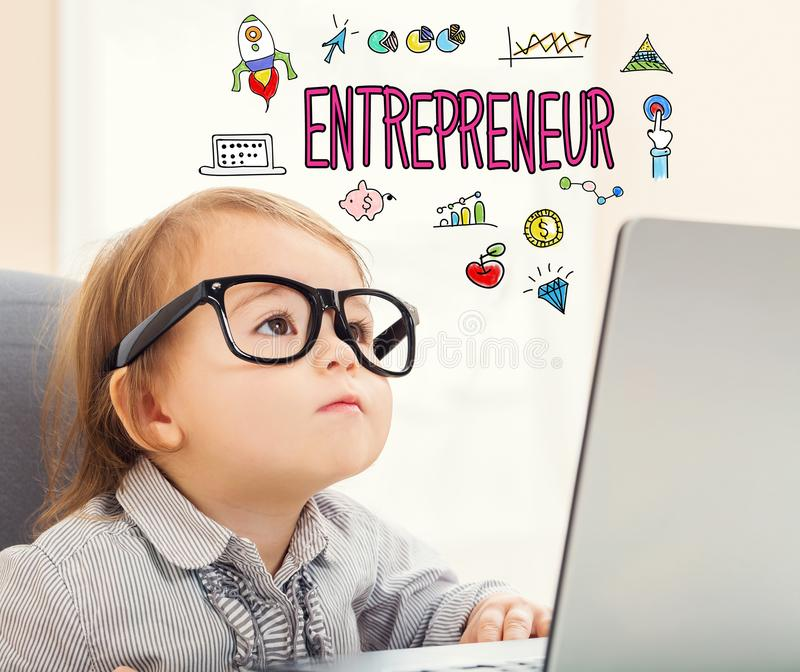Entrepreneur text with toddler girl stock image