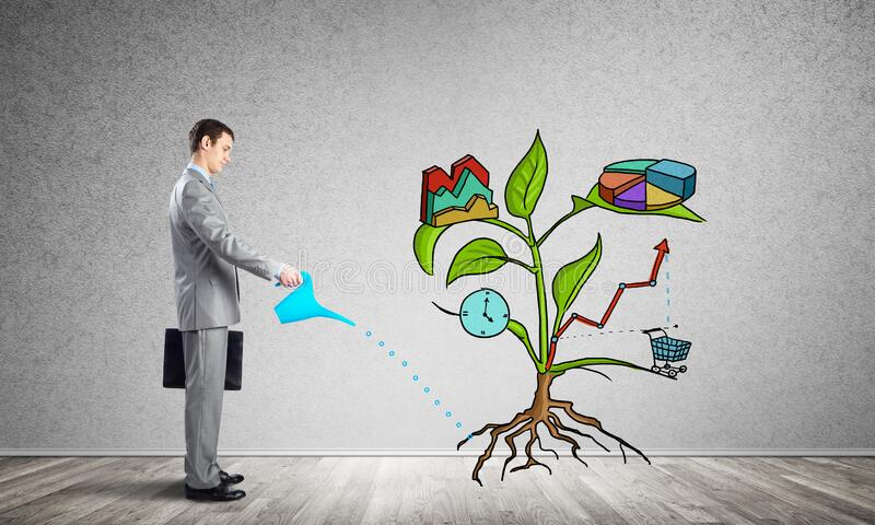 Entrepreneur watering drawing tree with symbols royalty free stock image