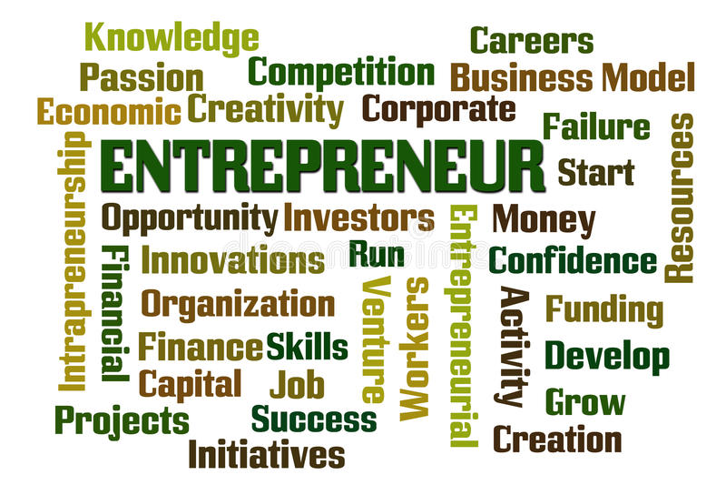Entrepreneur. Word cloud on white background vector illustration