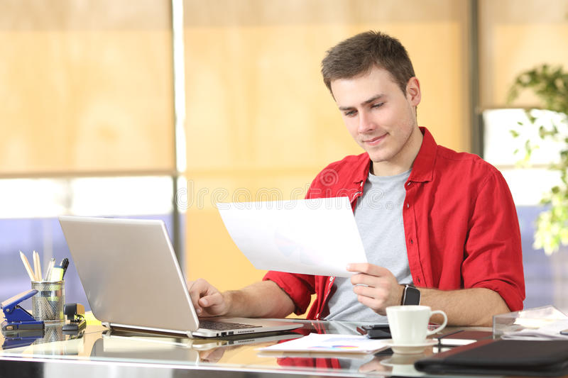 Entrepreneur working consulting documents royalty free stock images