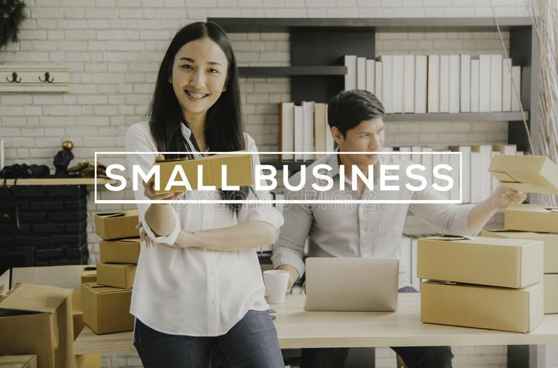 Entrepreneur young asian owner startup small business shop online. ecommerce concept royalty free stock photos