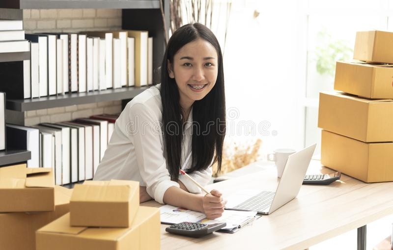 Entrepreneur young asian women owner startup small business shop online. ecommerce concept stock images