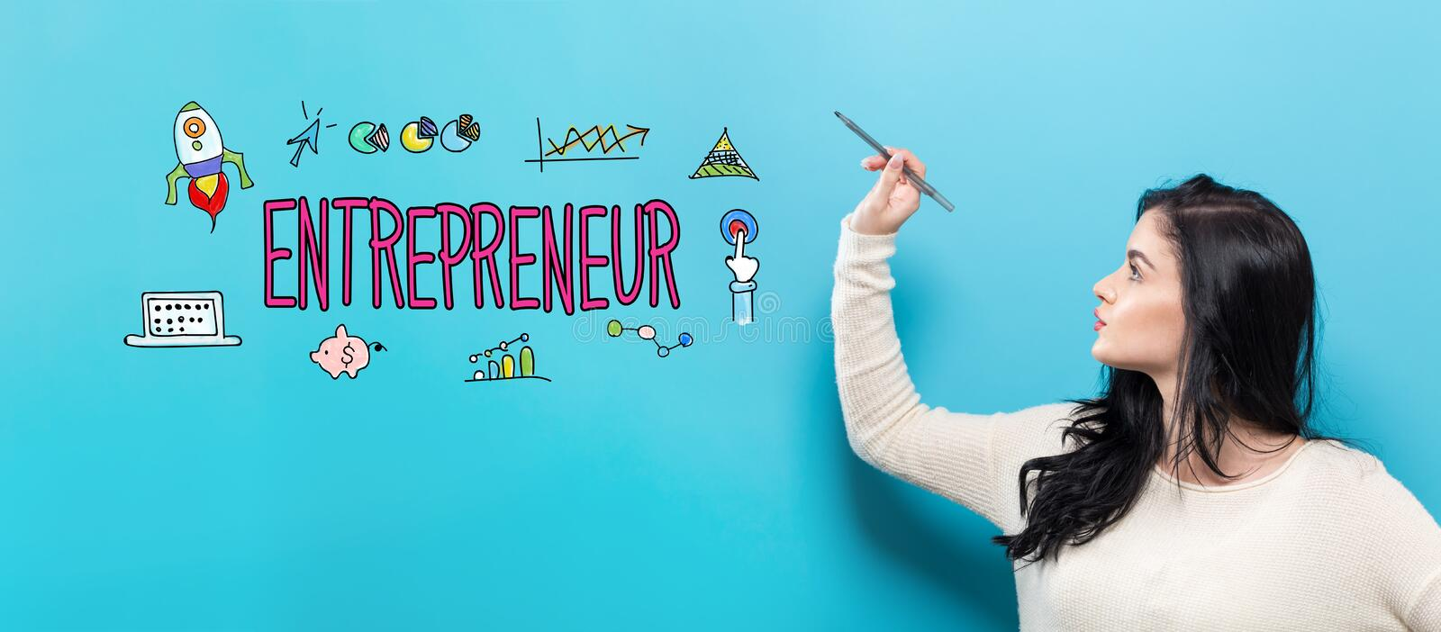 Entrepreneur with young woman holding a pen stock images