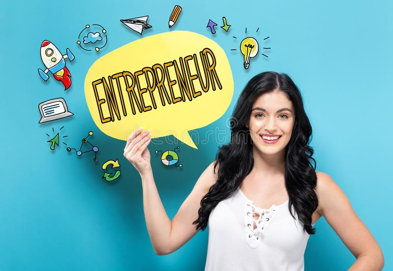 Entrepreneur with woman holding a speech bubble royalty free stock photo