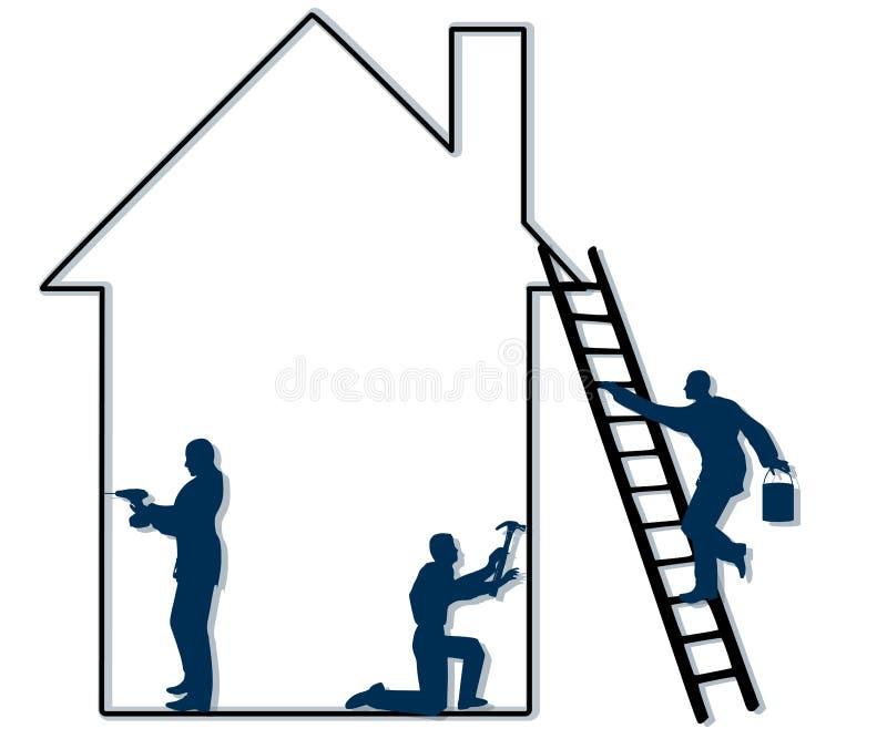 Entrepreneurs à la maison de réparation illustration libre de droits