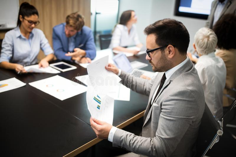 Entrepreneurs and business people conference in meeting room stock images