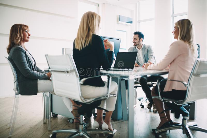 Entrepreneurs and business people conference in modern meeting room royalty free stock photo