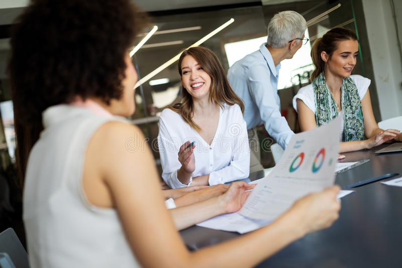 Entrepreneurs and business people conference in meeting room stock image