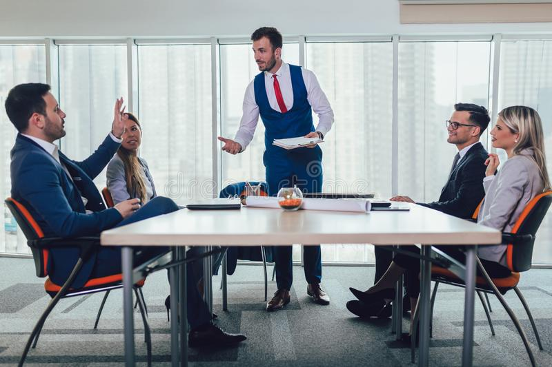 Entrepreneurs and business people conference in meeting room. stock image