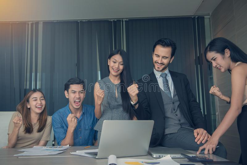 Entrepreneurs and Business People discussing together in conference room during meeting at office, teamwork concept royalty free stock image