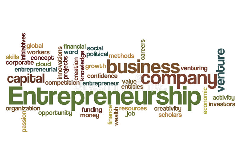 Entrepreneurship word cloud concept royalty free illustration