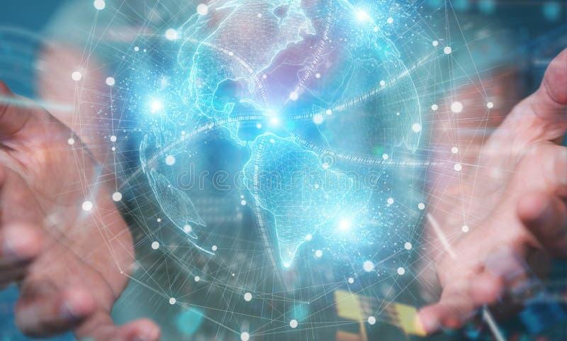 Entreprise utilisant l'Amérique États-Unis carte du réseau mondial hologramme rendu 3D image stock