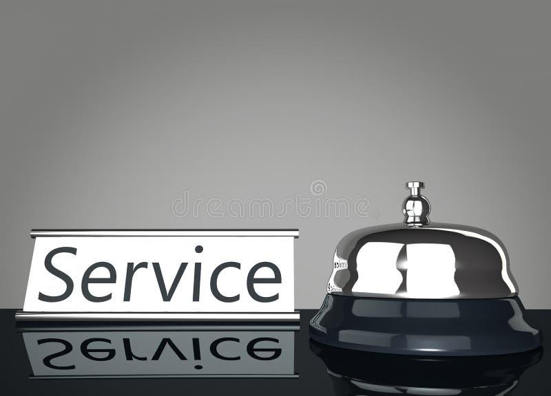 Entretenez Bell avec le signe de service illustration stock