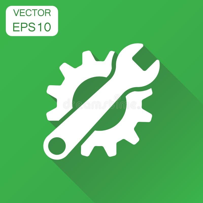 Entretenez l'icône d'outils Roue dentée de concept d'affaires avec le symbole de clé illustration de vecteur