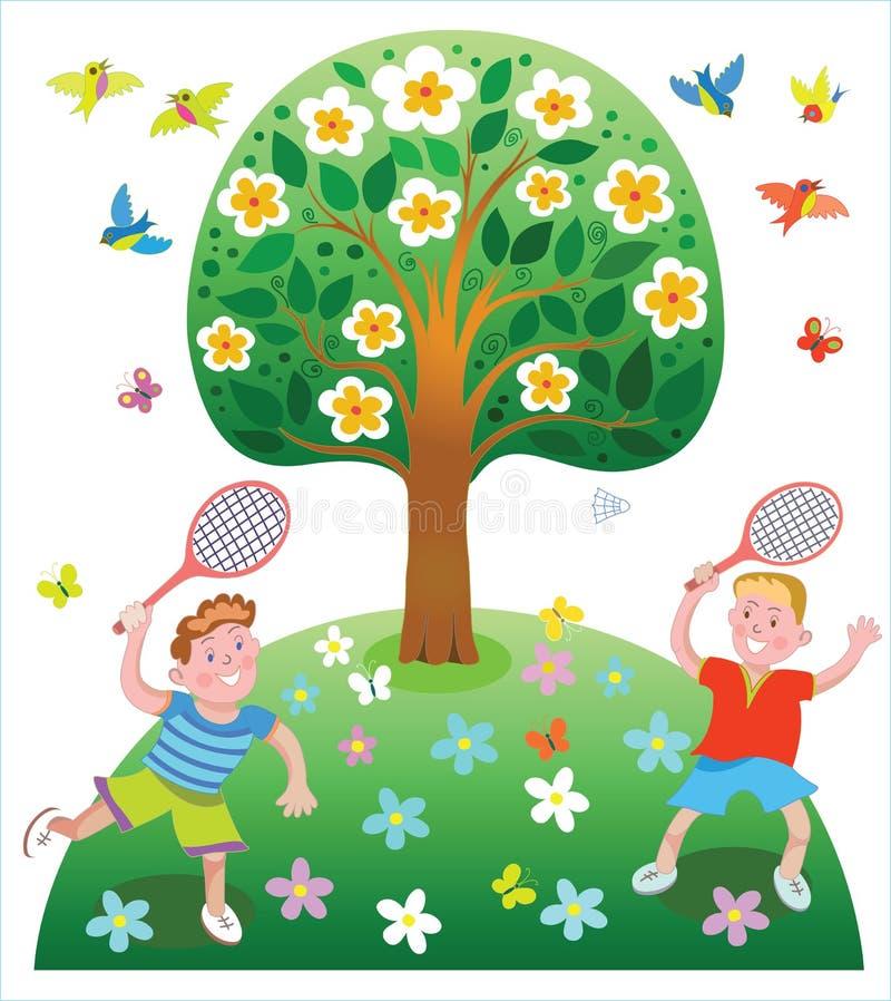 Entretenimento feliz do ` s das crianças das férias de verão ilustração do vetor