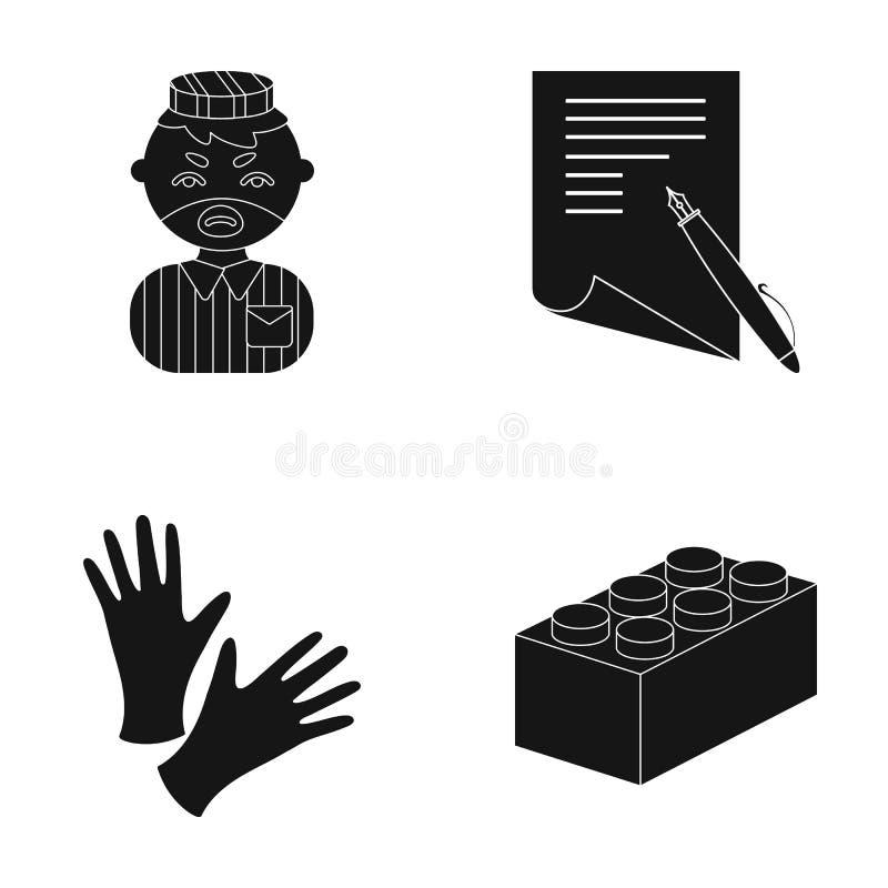Entretenimento, matérias têxteis, correio e o outro ícone da Web no estilo preto Lego, jogo, crianças, ícones na coleção do grupo ilustração do vetor