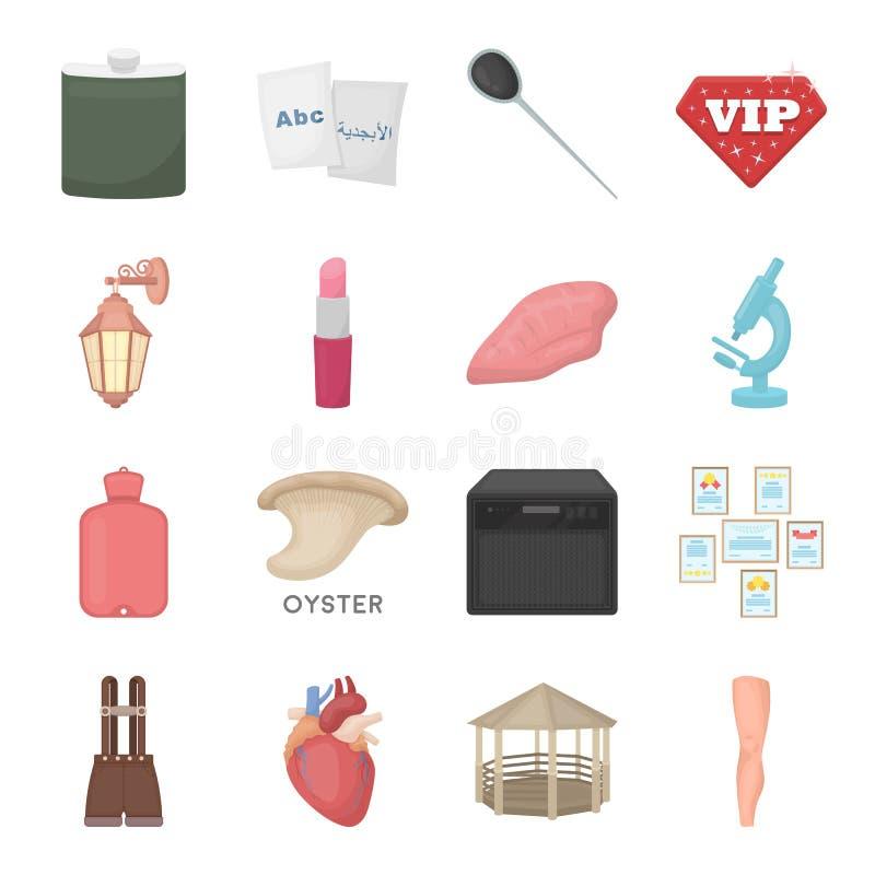 Entretenimento, saúde, educação e o outro ícone da Web no estilo dos desenhos animados Corpo, arte, ícones da medicina na coleção ilustração do vetor