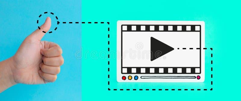 Entretenimiento social y conceptos de comercialización en línea con el pulgar del cliente para arriba y el fram de la película ilustración del vector