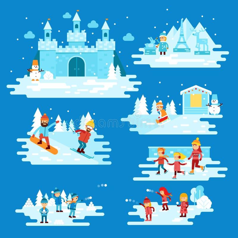 Entretenimientos del invierno de los elementos de Infographic, caracteres de la gente, niños que juegan las bolas de nieve, muñec ilustración del vector