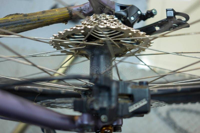 Entretien de bicyclette réparant les freins à disque sur un vélo de montagne photo libre de droits