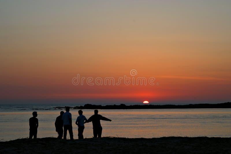 Entretien de coucher du soleil image stock