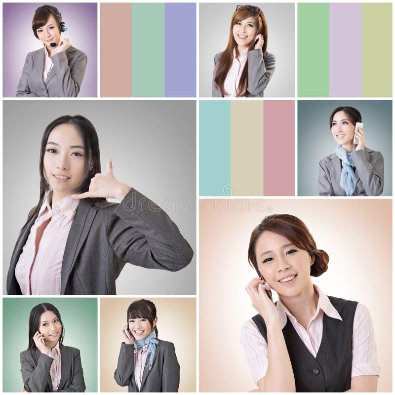 Entretien de femme d'affaires images stock