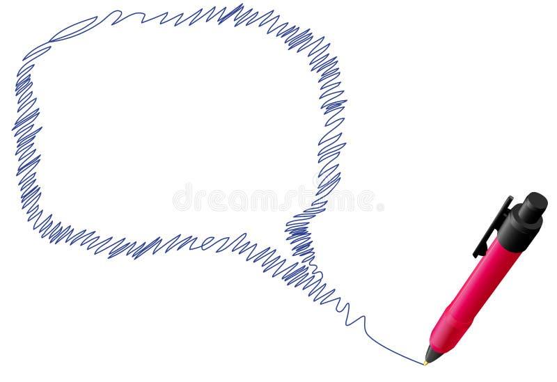 entretien de la parole de griffonnage de crayon lecteur d'encre d'attraction de bulle illustration libre de droits
