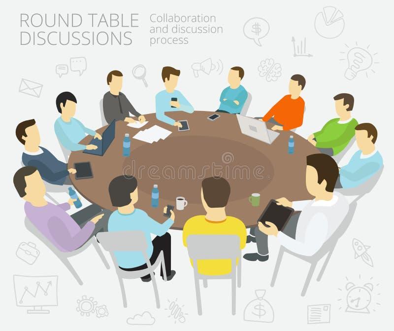 Entretiens de table ronde Groupe de gens d'affaires d'équipe illustration de vecteur