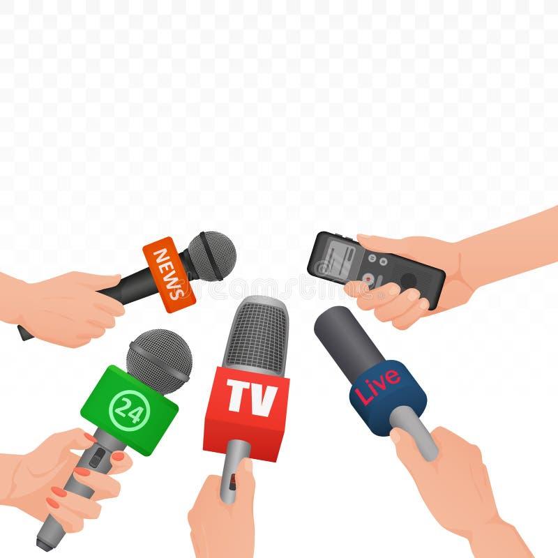 Entrevístese con los micrófonos y la grabadora de voz de las noticias en manos de la rueda de prensa del periodista de los report ilustración del vector