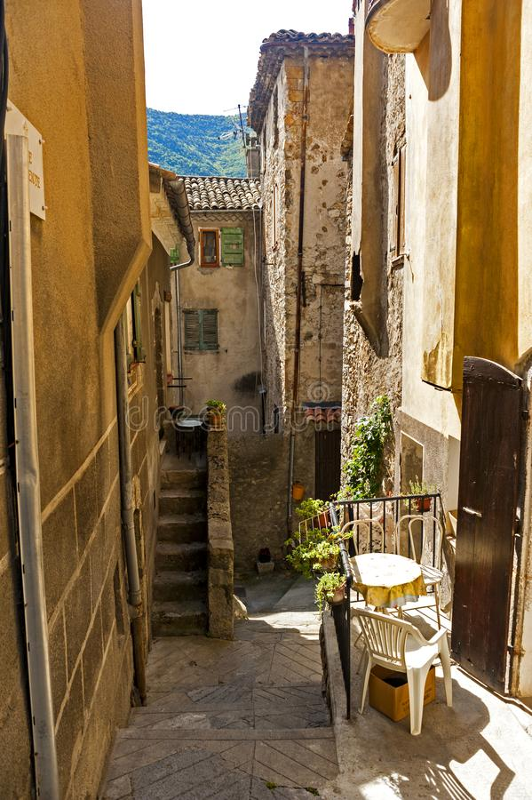 In the old district of Entrevaux, France. Entrevaux France is one of those Provencal villages that has been able to keep its character and charm stock photos