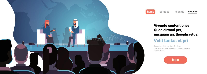 Entrevista árabe da reunião do debate da conferência de dois políticos dos homens de negócio que fala sobre a audiência grande do ilustração royalty free