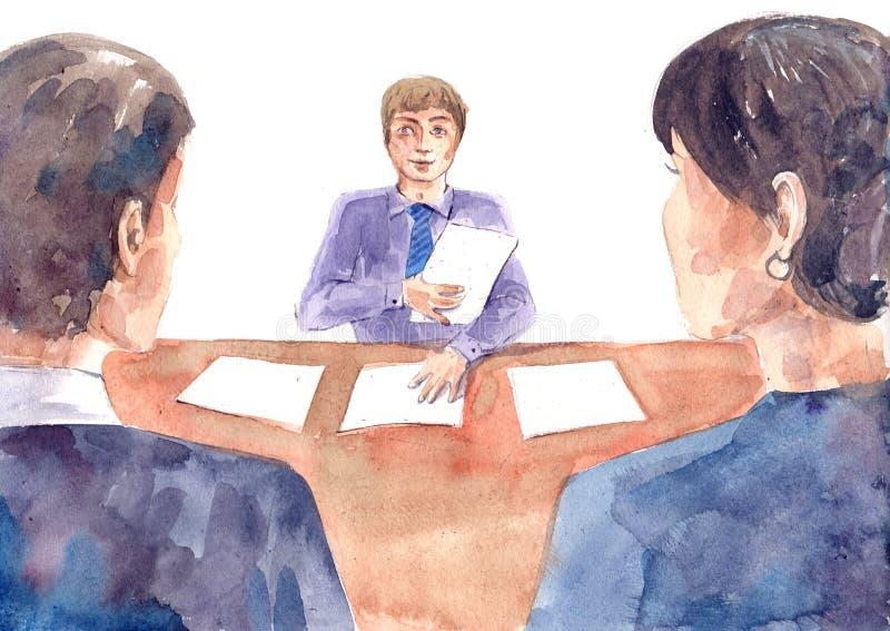 Entrevista ilustración del vector