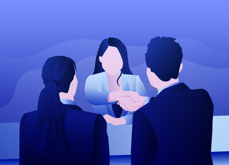 Entrevista acertada del negocio de la mujer stock de ilustración