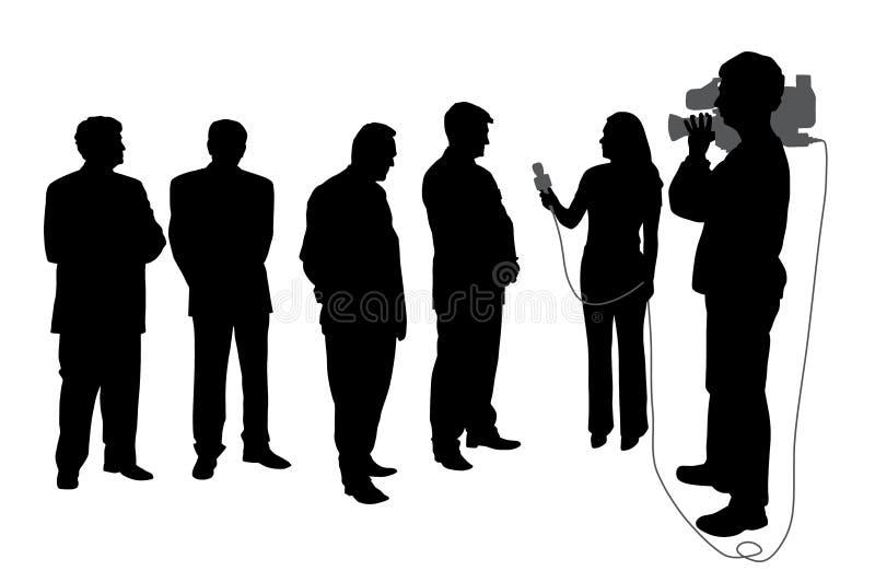 Entrevista com grupo de pessoas com operador cinematográfico ilustração stock