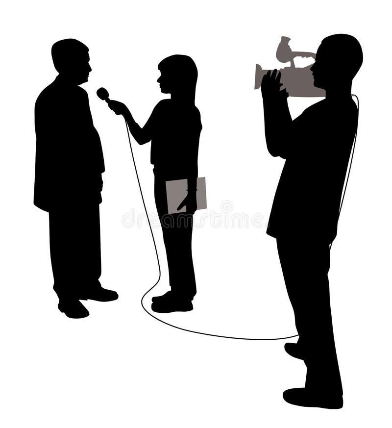 Entrevista com operador cinematográfico ilustração stock