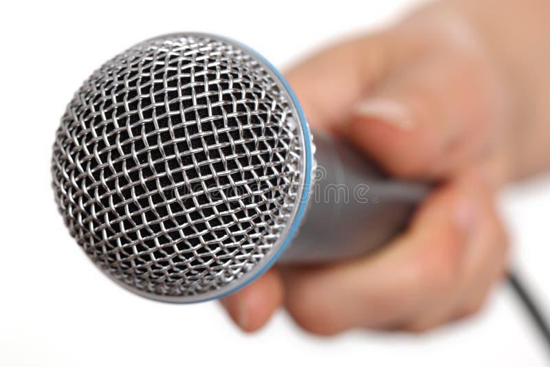 Entrevista con el micrófono fotografía de archivo libre de regalías