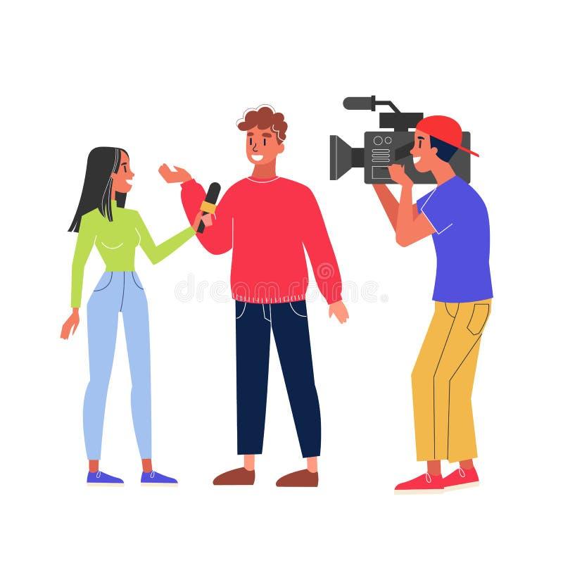 Entrevista de la toma del periodista y vídeo del tiroteo del cameraman stock de ilustración