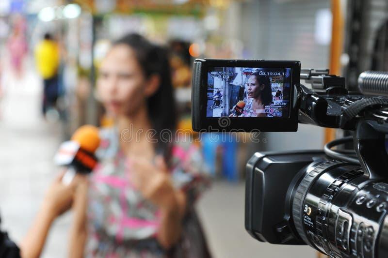 Entrevista de las noticias de la TV imagen de archivo