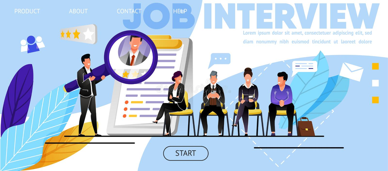Entrevista de trabajo, reclutamiento Página web, página del aterrizaje stock de ilustración