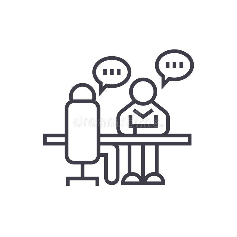 Entrevista, linha fina ícone do vetor do conceito da discussão do escritório, símbolo, sinal, ilustração no fundo isolado ilustração stock