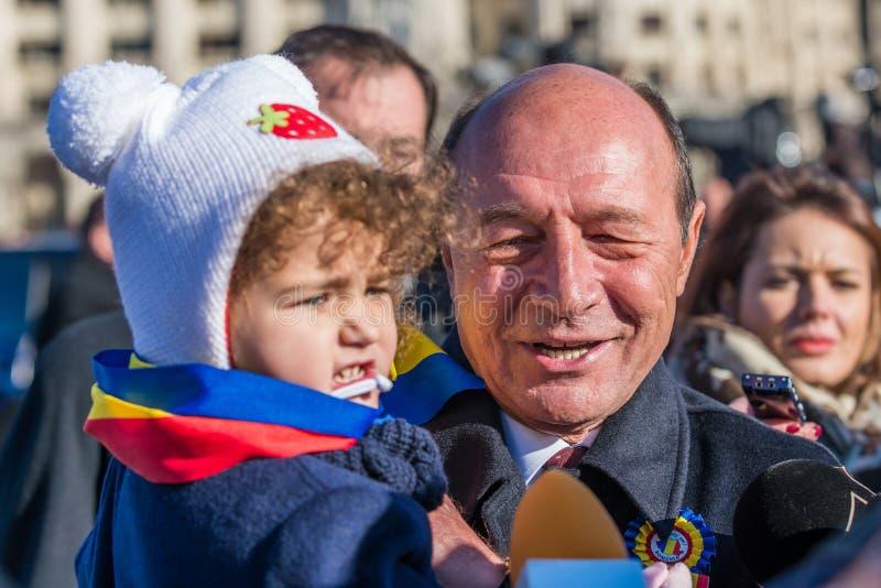 Entrevue avec l'ancien président de la Roumanie, Traian Basescu photographie stock