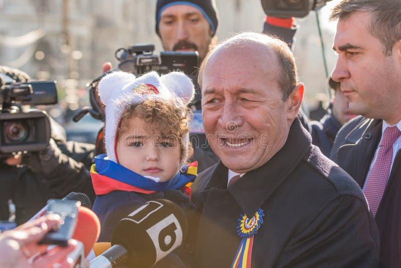 Entrevue avec l'ancien président de la Roumanie, Traian Basescu image libre de droits