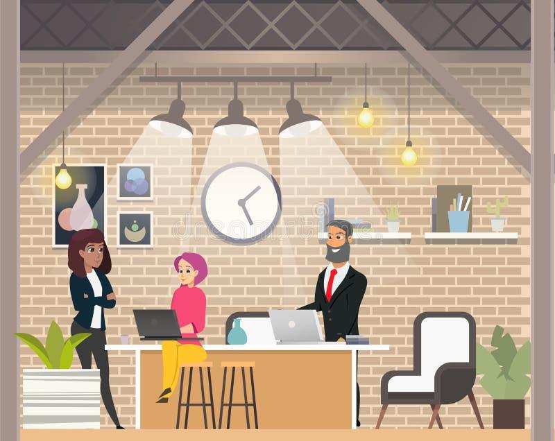 Entrevue d'affaires dans l'espace ouvert moderne Coworking illustration stock