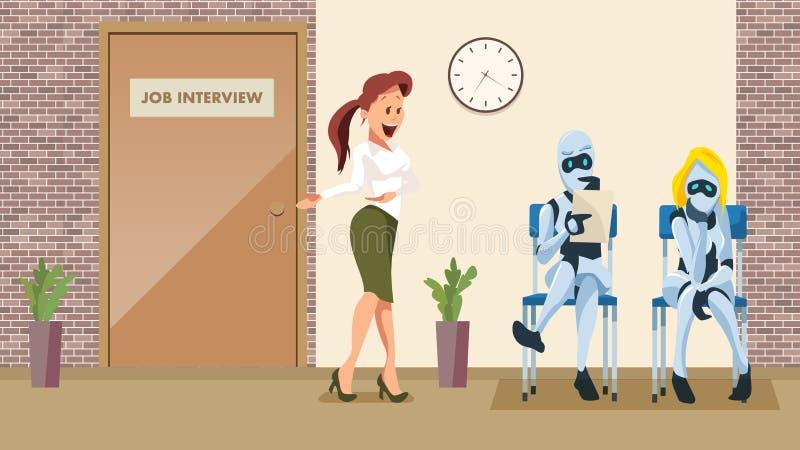 Entrevue d'emploi d'attente de deux robots dans le couloir de bureau illustration stock