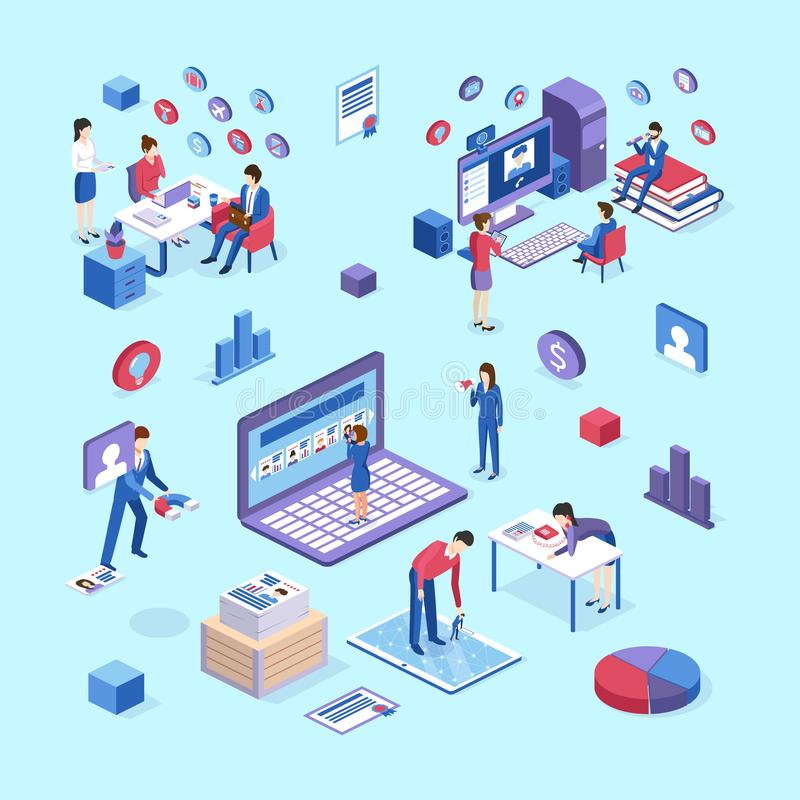 Entrevue d'emploi avec des spécialistes en heure, présentation de recrutement, ressources humaines d'agence illustration de vecteur