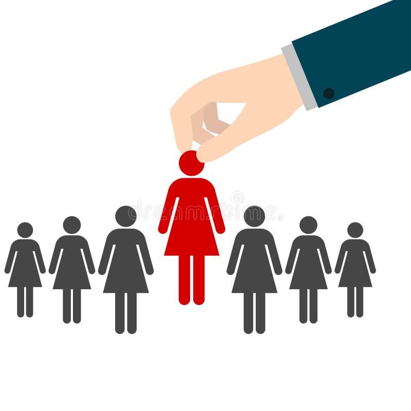 Entrevue d'emploi, concept de ressources humaines : choix du candidat parfait pour le travail illustration stock